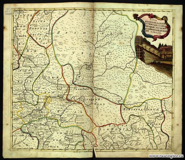 Карта Яренской, Важской, Устюжской, Соливы- Чеготской, Тотымской и Хлыповоцкой провинций