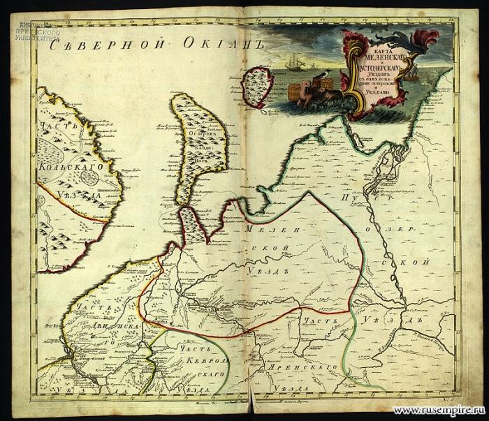 Карта Мезенского и Пустозерского уездов