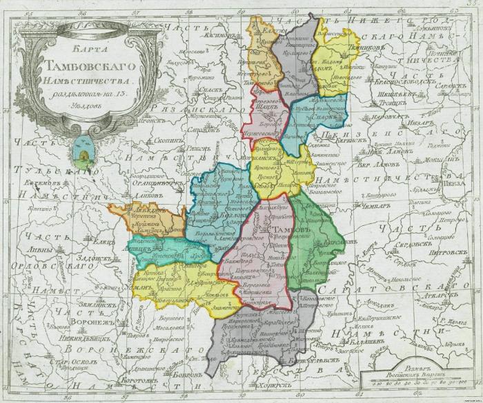Карта Тамбовского наместничества