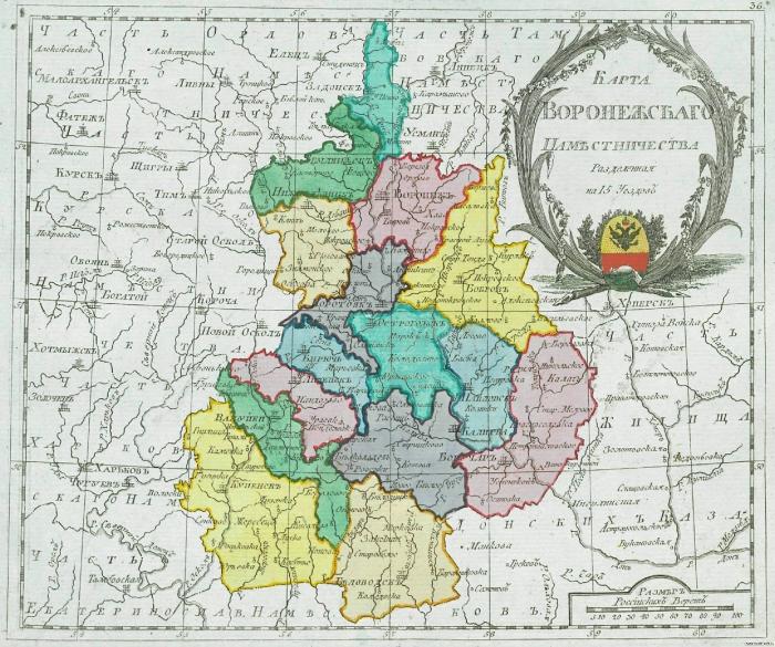 Карта Воронежского наместничества