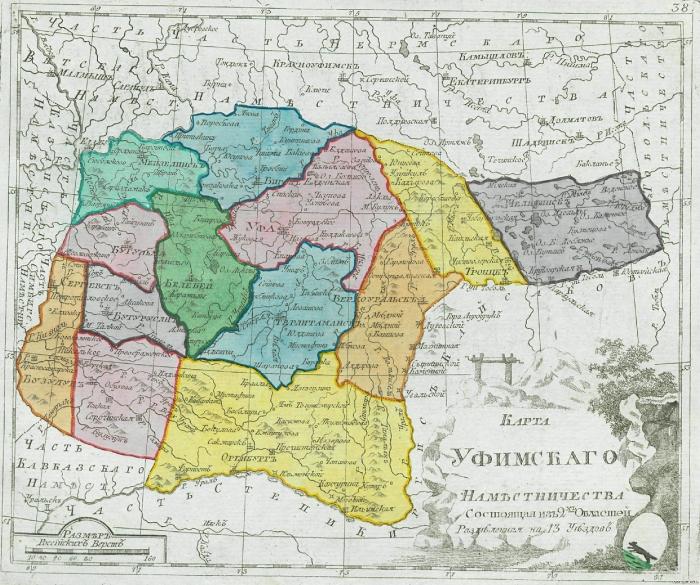 Карта Уфимского наместничества