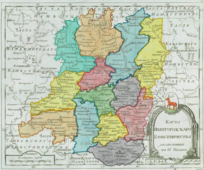 Карта Нижегородского наместничества
