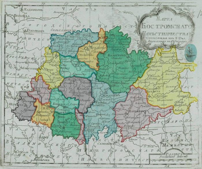 Карта Костромского наместничества
