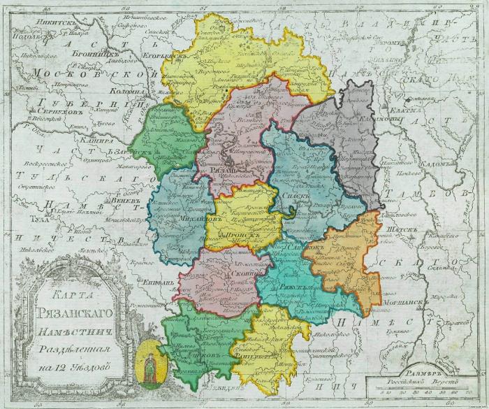 Карта Рязанского наместничества