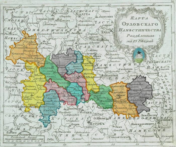 Карта Орловского наместничества