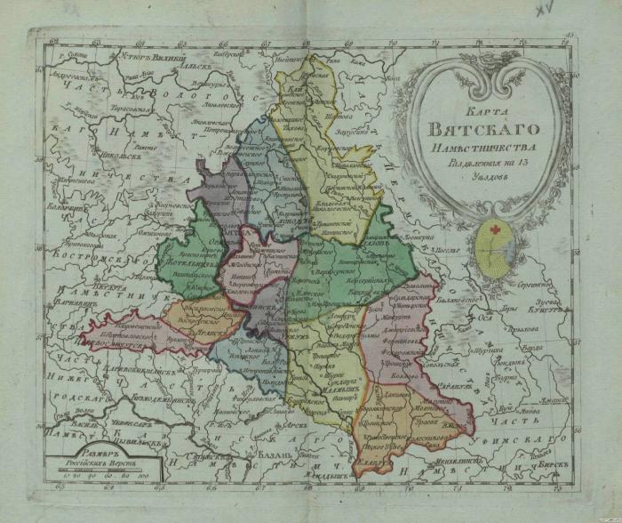 Карта Вятского наместничества