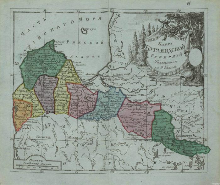 Карта Курляндской губернии