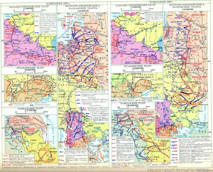 Первая мировая война 1914 - 1918 гг. Кампания 1915 г. Кампания 1916 г
