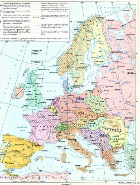 Вторая мировая война. Территориальные захваты фашистского блока в Европе к июню 1941 г