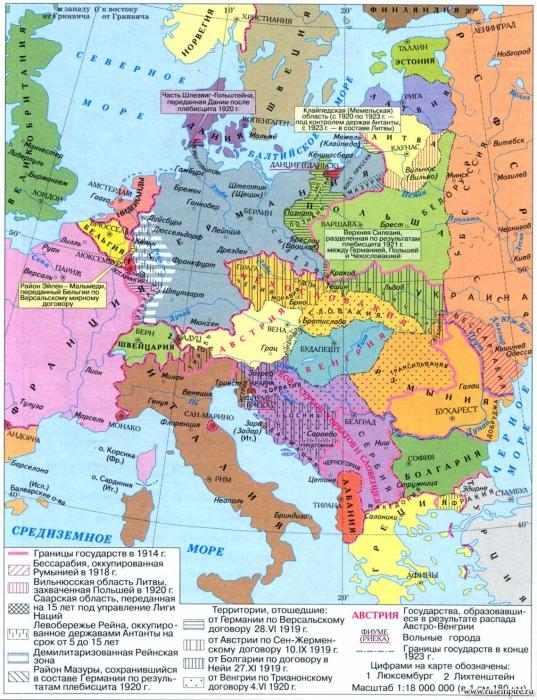 Территориальные изменения и новые государства в Европе после Первой мировой войны