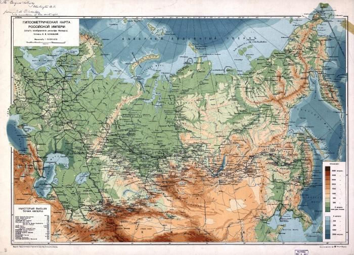 Физическая карта Российской империи