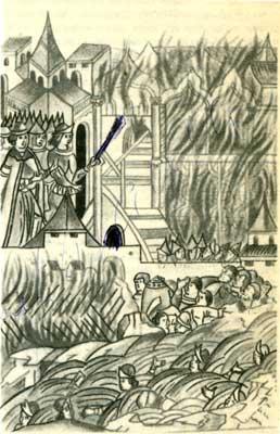 Восстание в Твери против татарского посла  Чол-хана   1327 г. Миниатюра из Лицевого летописного свода XVI в.